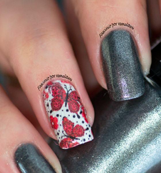 Dedo de Moça – Borboleta Rosa com Flores