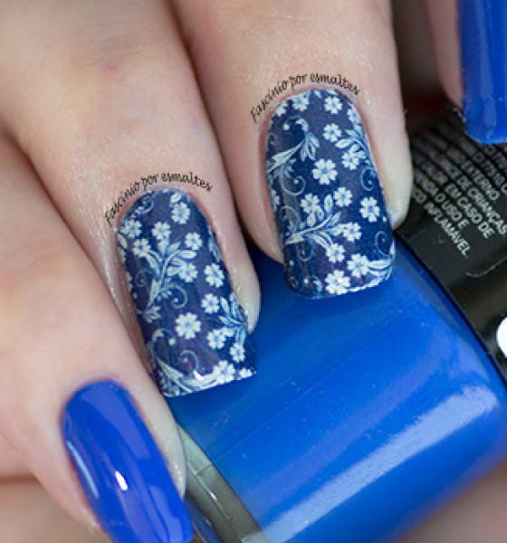 Look das Unhas – Flores Arranjo Azul
