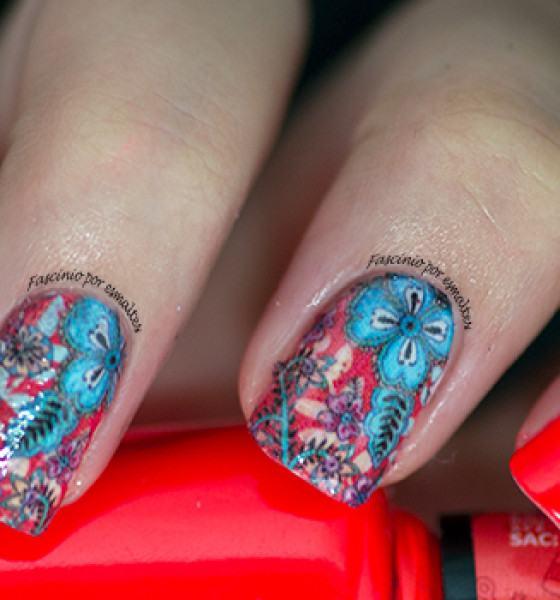 Dedo de Moça – Floral Azul Fundo Vermelho