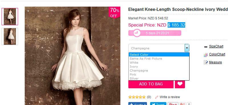 Elegant Knee-Length Scoop-Neckline Ivory Wedding Dress