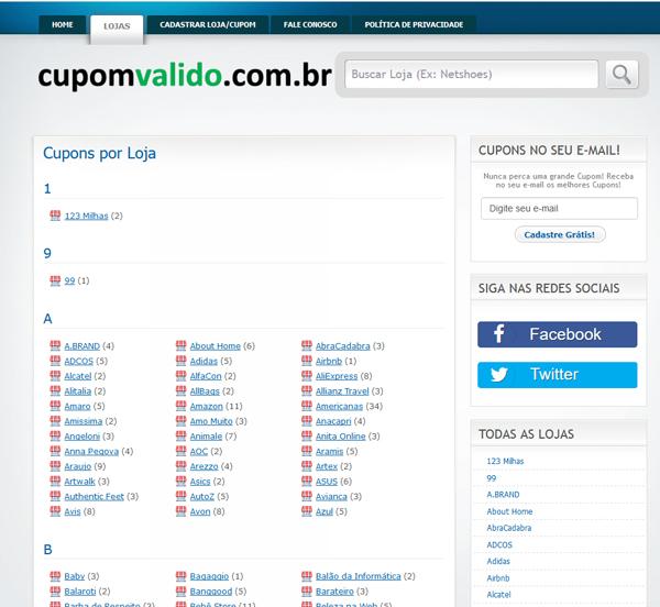 Site Cupom Valido - Lista